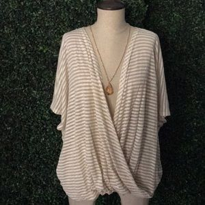 She and sky over size stripe drape crossed top